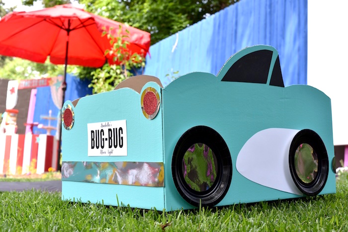 Cardboard car with personalized license plate from a Drive In Movie Night Birthday Party via Kara's Party Ideas | KarasPartyIdeas.com (24)