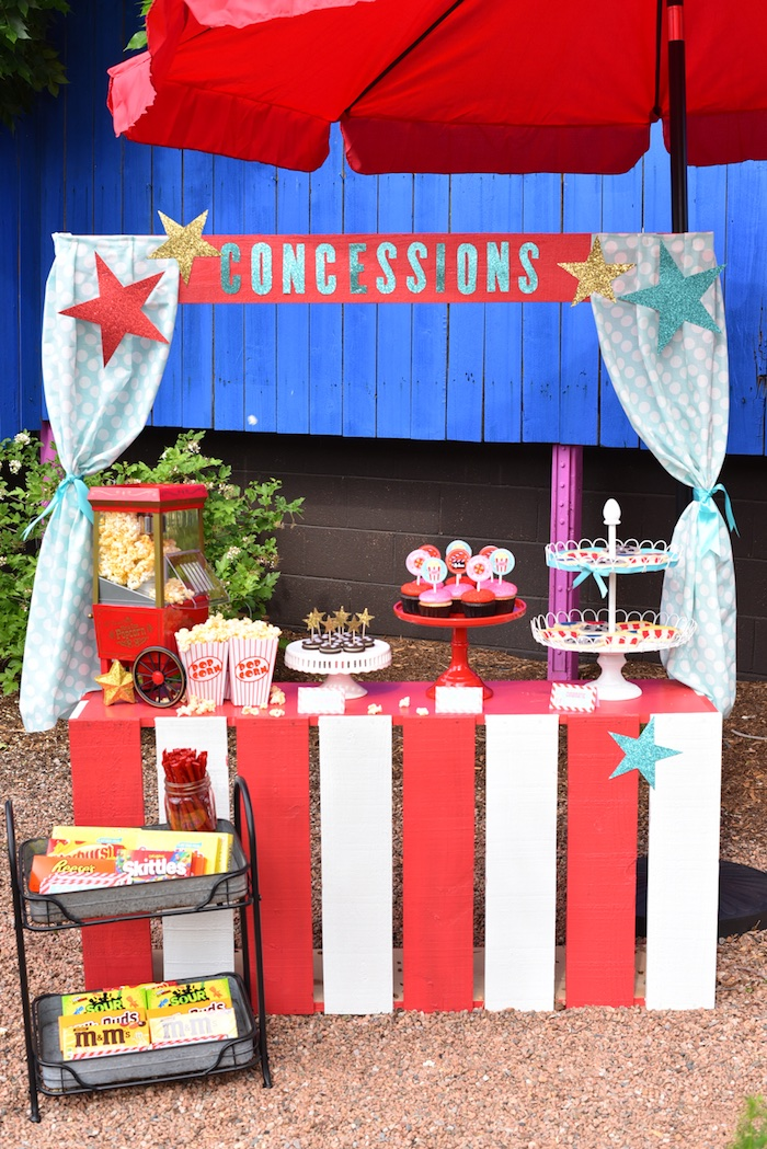Concession stand from a Drive In Movie Night Birthday Party via Kara's Party Ideas | KarasPartyIdeas.com (22)