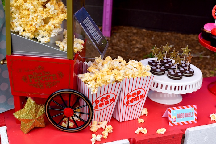 Popcorn + Oreo reel cookies from a Drive In Movie Night Birthday Party via Kara's Party Ideas | KarasPartyIdeas.com (20)