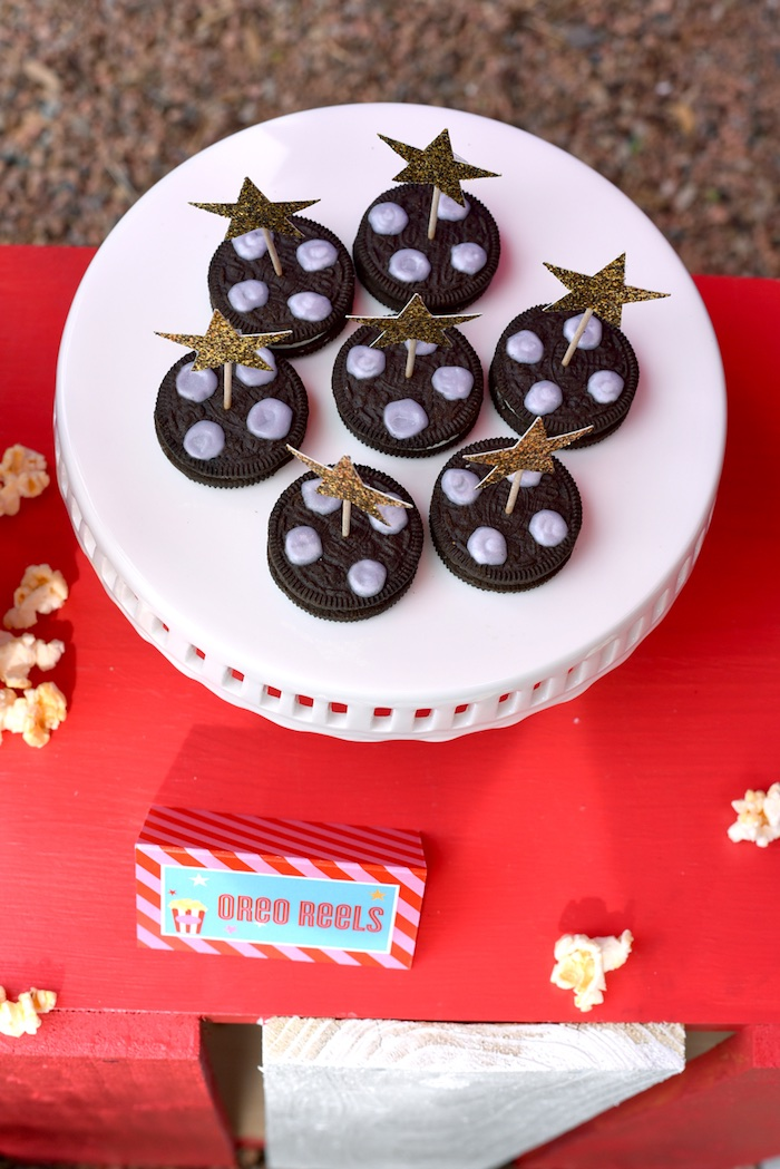 Oreo movie reels from a Drive In Movie Night Birthday Party via Kara's Party Ideas | KarasPartyIdeas.com (18)