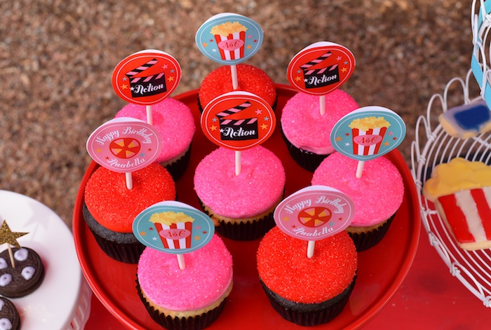 Cameo cupcakes from a Drive In Movie Night Birthday Party via Kara's Party Ideas | KarasPartyIdeas.com (17)