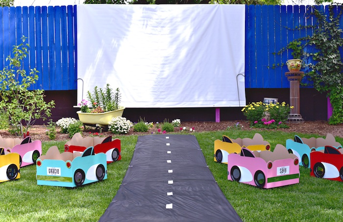 Moviescape from a Drive In Movie Night Birthday Party via Kara's Party Ideas | KarasPartyIdeas.com (35)