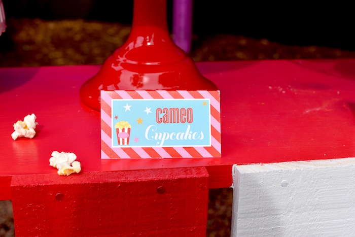 Cupcake label from a Drive In Movie Night Birthday Party via Kara's Party Ideas | KarasPartyIdeas.com (16)