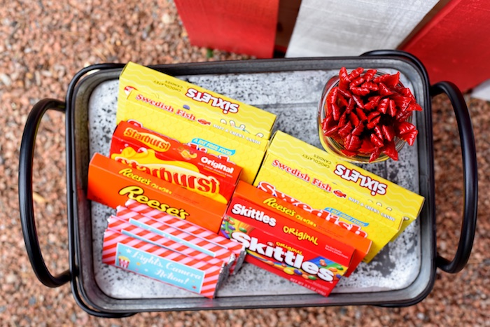 Concession stand candy from a Drive In Movie Night Birthday Party via Kara's Party Ideas | KarasPartyIdeas.com (13)