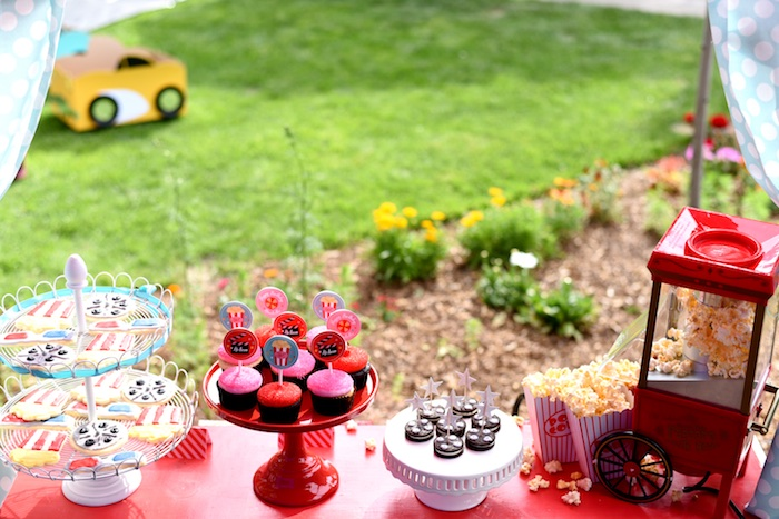 Sweets and popcorn from a Drive In Movie Night Birthday Party via Kara's Party Ideas | KarasPartyIdeas.com (11)