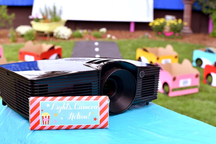 Custom chocolate bar + projector from a Drive In Movie Night Birthday Party via Kara's Party Ideas | KarasPartyIdeas.com (10)