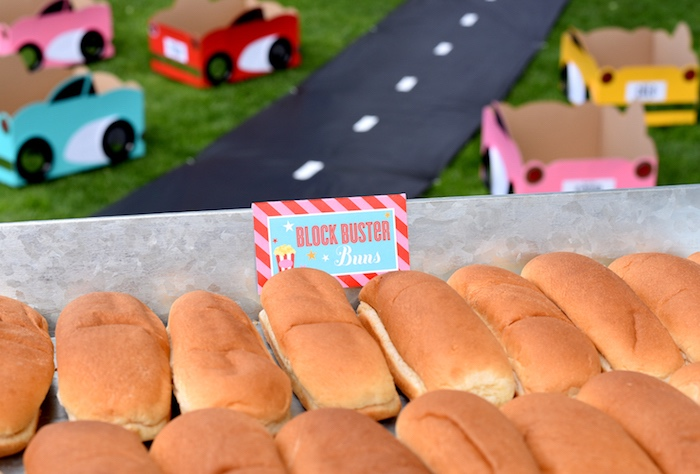 Blockbuster hot dog buns from a Drive In Movie Night Birthday Party via Kara's Party Ideas | KarasPartyIdeas.com (9)
