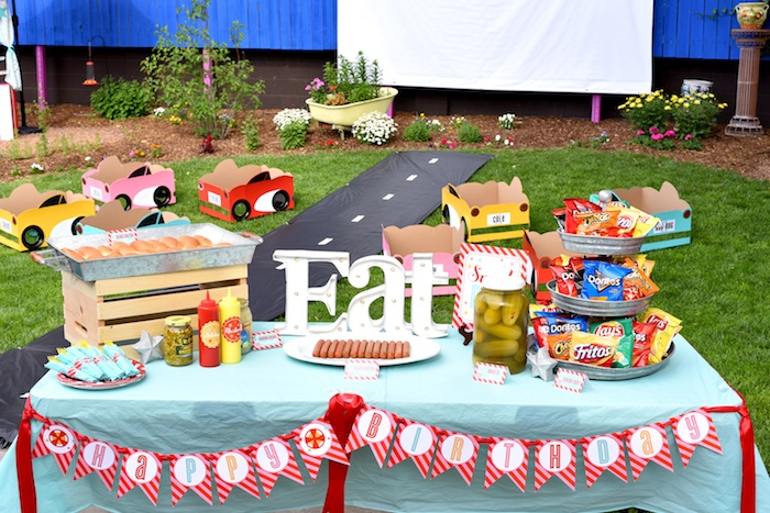Food + snack table from a Drive In Movie Night Birthday Party via Kara's Party Ideas | KarasPartyIdeas.com (8)