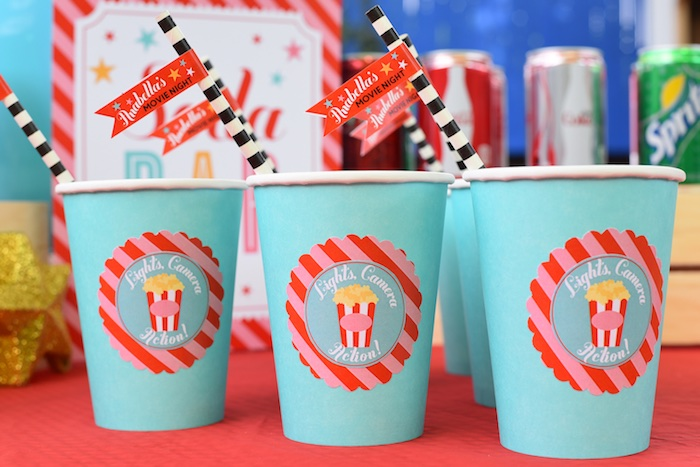 Custom cups from a Drive In Movie Night Birthday Party via Kara's Party Ideas | KarasPartyIdeas.com (7)