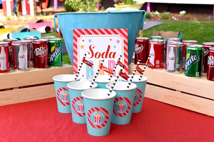 Soda bar from a Drive In Movie Night Birthday Party via Kara's Party Ideas | KarasPartyIdeas.com (34)