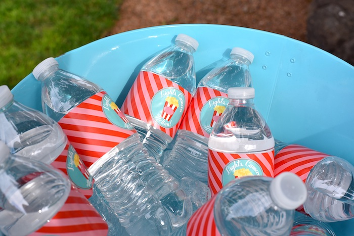 Water bottles from a Drive In Movie Night Birthday Party via Kara's Party Ideas | KarasPartyIdeas.com (6)