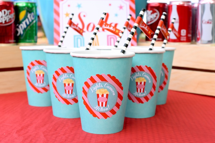 Paper cups from a Drive In Movie Night Birthday Party via Kara's Party Ideas | KarasPartyIdeas.com (33)