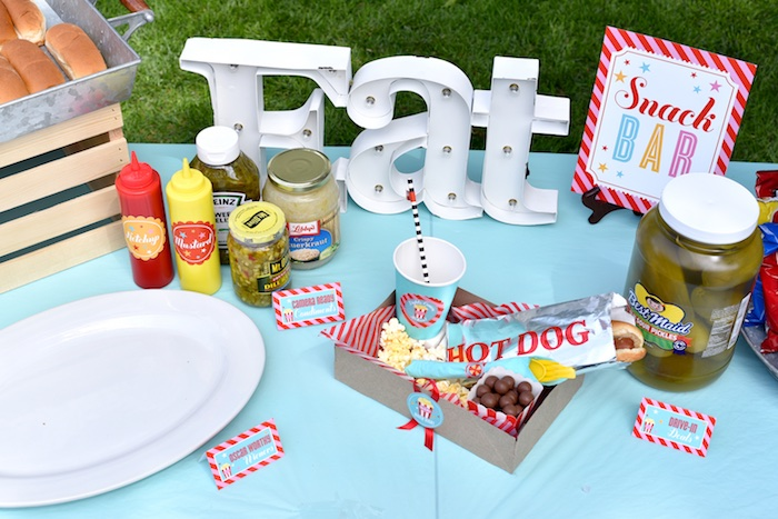 Food table from a Drive In Movie Night Birthday Party via Kara's Party Ideas | KarasPartyIdeas.com (32)