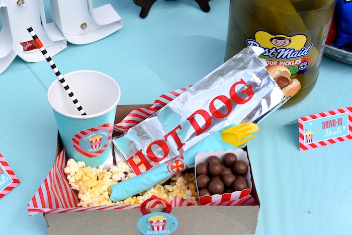 Food tray from a Drive In Movie Night Birthday Party via Kara's Party Ideas | KarasPartyIdeas.com (31)