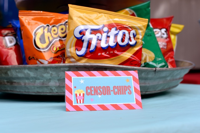 Chip bags + custom chip label from a Drive In Movie Night Birthday Party via Kara's Party Ideas | KarasPartyIdeas.com (29)