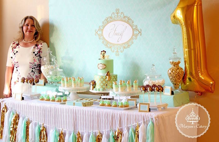 Dessert tablescape from an Elegant Baby Lion Birthday Party via Kara's Party Ideas | KarasPartyIdeas.com (10)