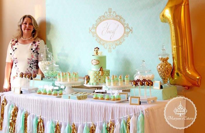 Dessert tablescape from an Elegant Baby Lion Birthday Party via Kara's Party Ideas | KarasPartyIdeas.com (10)