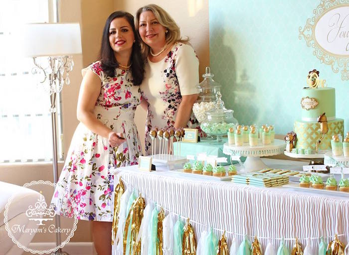 Dessert tablescape from an Elegant Baby Lion Birthday Party via Kara's Party Ideas | KarasPartyIdeas.com (9)