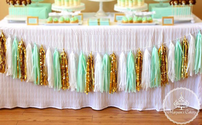 Tassel garland from an Elegant Baby Lion Birthday Party via Kara's Party Ideas | KarasPartyIdeas.com (8)