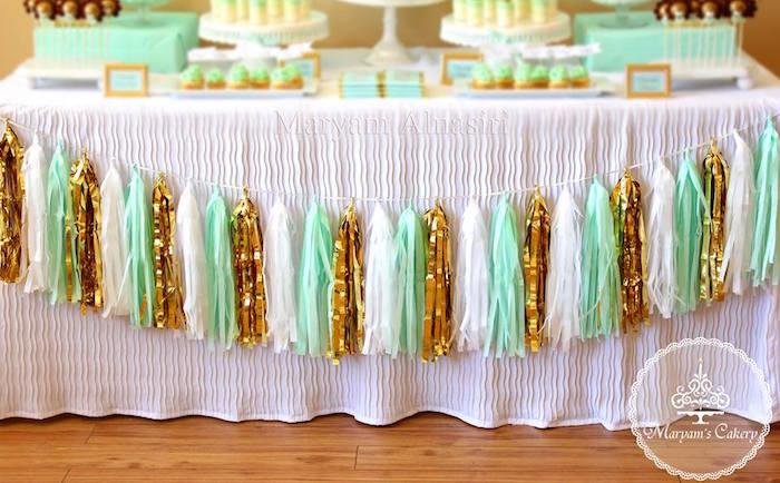 Tassel garland from an Elegant Baby Lion Birthday Party via Kara's Party Ideas | KarasPartyIdeas.com (8)