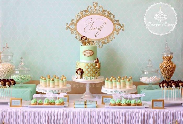 Head table from an Elegant Baby Lion Birthday Party via Kara's Party Ideas | KarasPartyIdeas.com (6)
