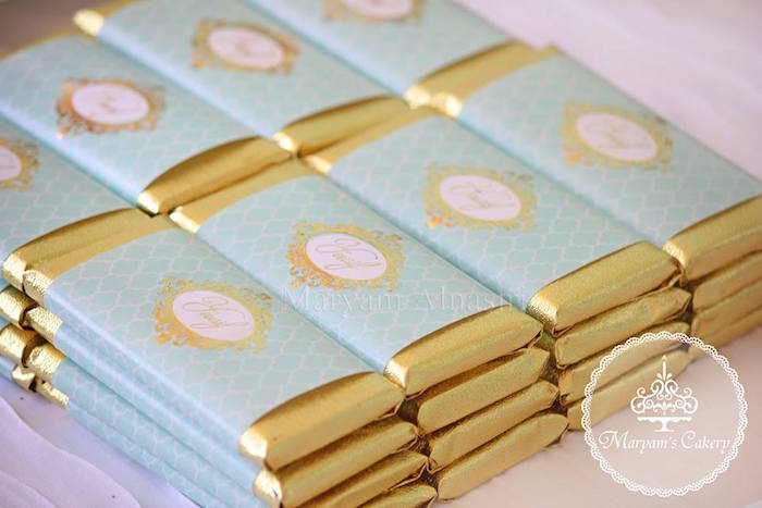 Gold wrapped chocolate bars from an Elegant Baby Lion Birthday Party via Kara's Party Ideas | KarasPartyIdeas.com (5)