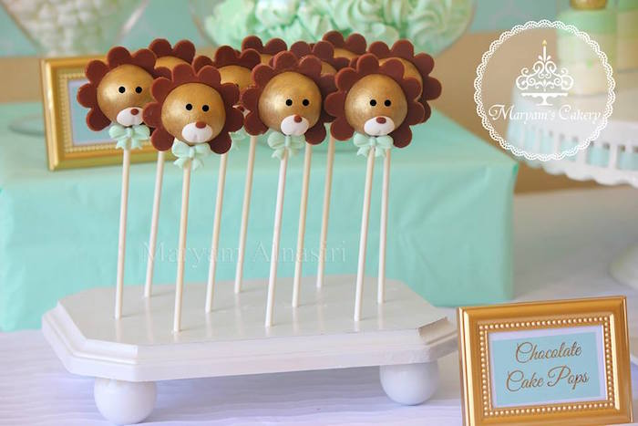 Adorable gold lion cake pops from an Elegant Baby Lion Birthday Party via Kara's Party Ideas | KarasPartyIdeas.com (20)
