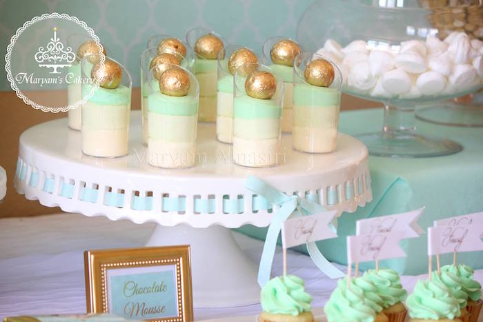 Ombre dessert cups from an Elegant Baby Lion Birthday Party via Kara's Party Ideas | KarasPartyIdeas.com (18)
