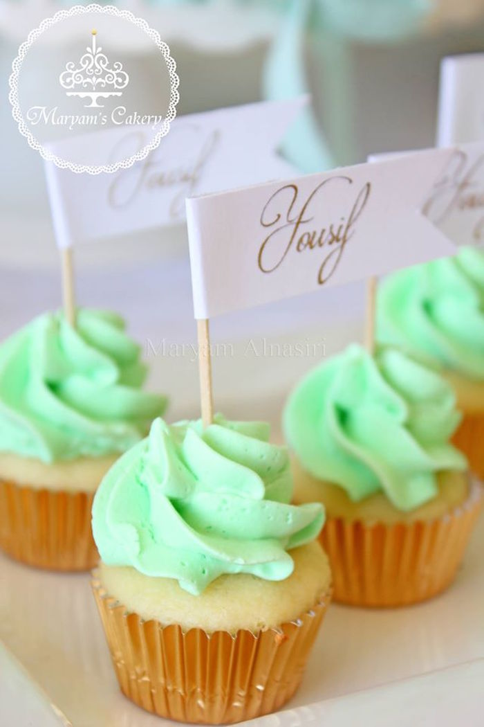 Mint-iced cupcakes from an Elegant Baby Lion Birthday Party via Kara's Party Ideas | KarasPartyIdeas.com (16)