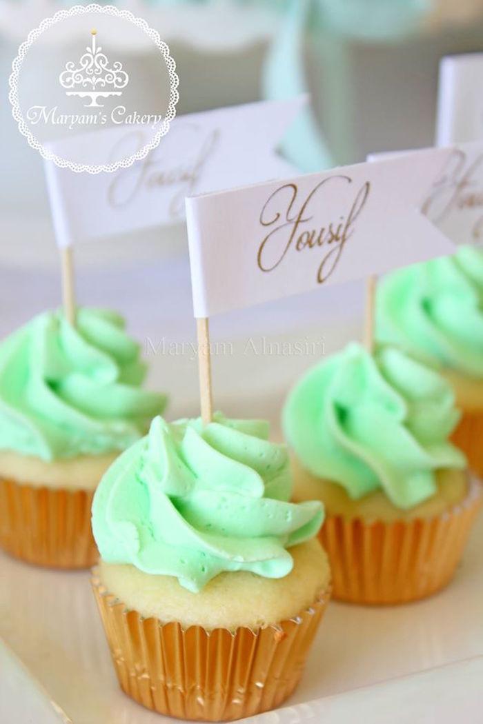 Mint-iced cupcakes from an Elegant Baby Lion Birthday Party via Kara's Party Ideas | KarasPartyIdeas.com (16)