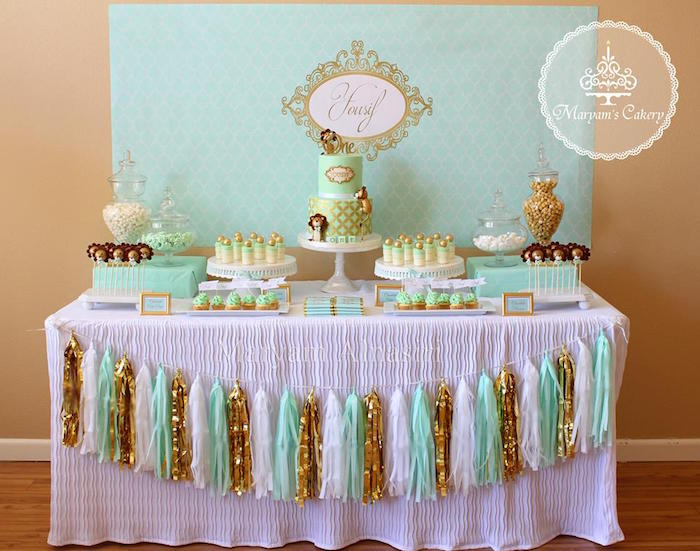 Full party spread + dessert table from an Elegant Baby Lion Birthday Party via Kara's Party Ideas | KarasPartyIdeas.com (15)