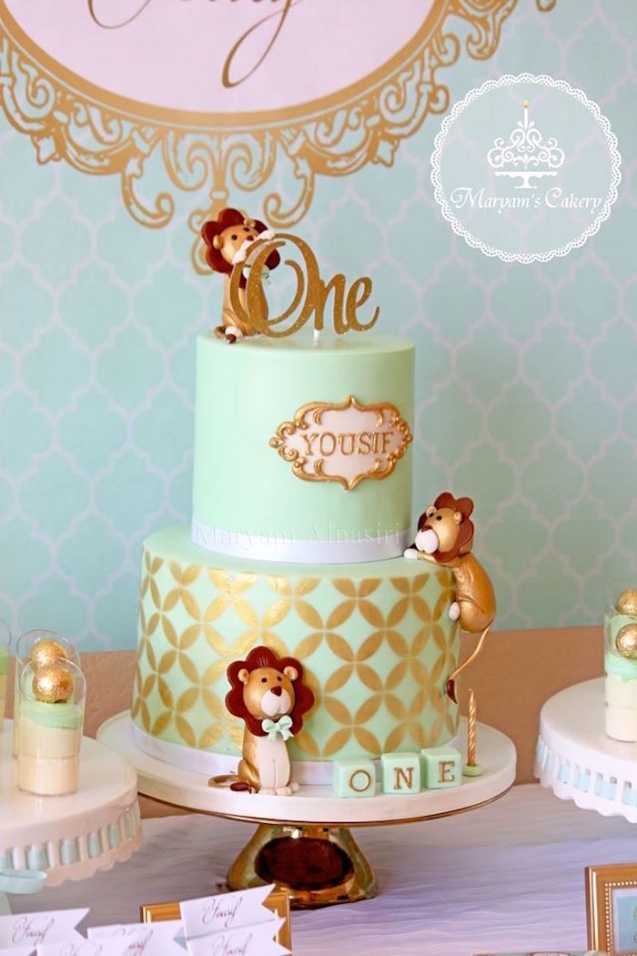 Lion-inspired birthday cake from an Elegant Baby Lion Birthday Party via Kara's Party Ideas | KarasPartyIdeas.com (14)