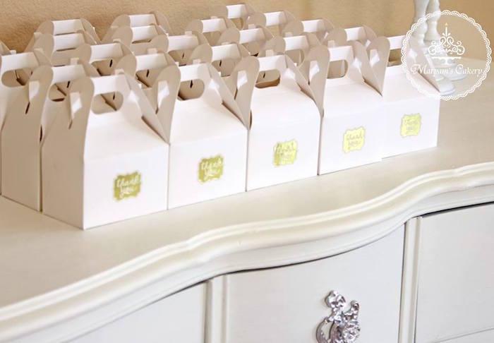 White gable favor boxes from an Elegant Baby Lion Birthday Party via Kara's Party Ideas | KarasPartyIdeas.com (12)