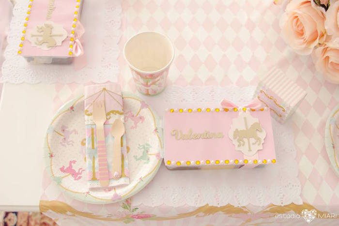 Carousel themed place setting from an Enchanted Carousel Birthday Party on Kara's Party Ideas | KarasPartyIdeas.com (42)