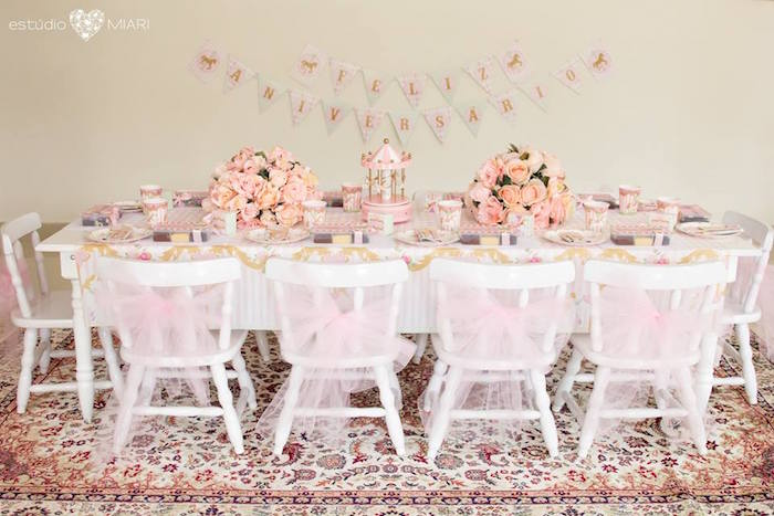 Kids dining table from an Enchanted Carousel Birthday Party on Kara's Party Ideas | KarasPartyIdeas.com (41)