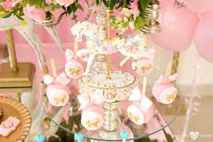 Carousel cake balls from an Enchanted Carousel Birthday Party on Kara's Party Ideas | KarasPartyIdeas.com (40)