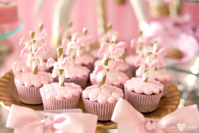 Carousel cupcakes from an Enchanted Carousel Birthday Party on Kara's Party Ideas | KarasPartyIdeas.com (38)