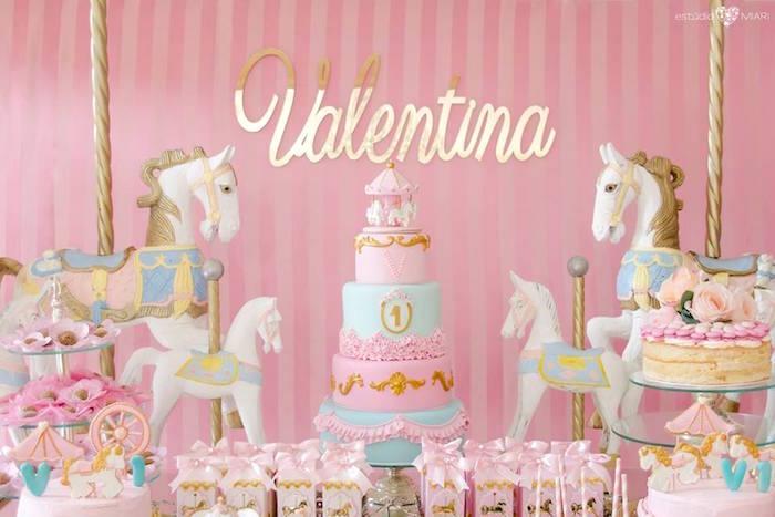 Carousel cakescape from an Enchanted Carousel Birthday Party on Kara's Party Ideas | KarasPartyIdeas.com (36)
