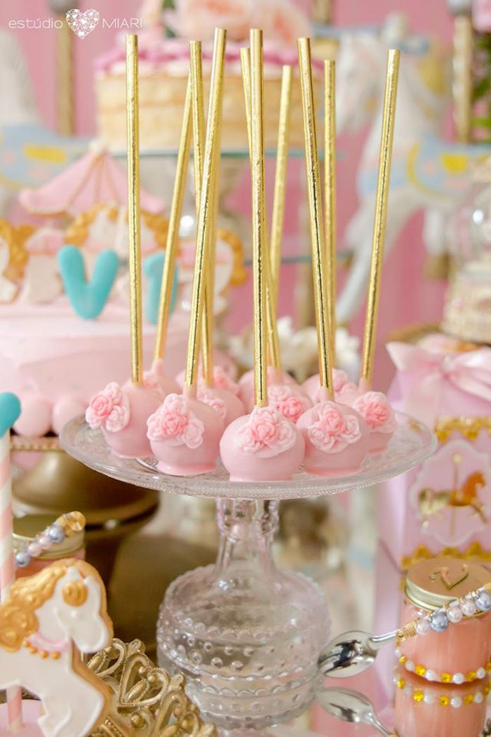 Cake pops from an Enchanted Carousel Birthday Party on Kara's Party Ideas | KarasPartyIdeas.com (34)
