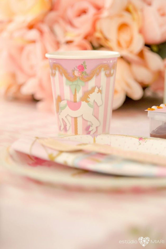 Carousel cup from an Enchanted Carousel Birthday Party on Kara's Party Ideas | KarasPartyIdeas.com (52)