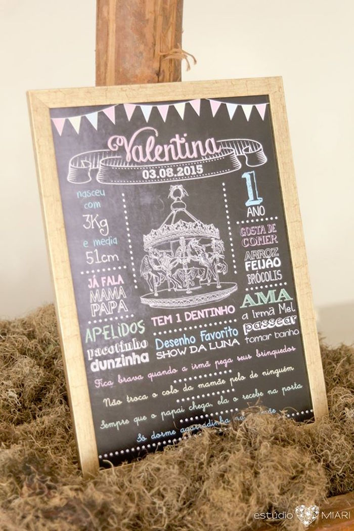 Chalkboard sign from an Enchanted Carousel Birthday Party on Kara's Party Ideas | KarasPartyIdeas.com (29)