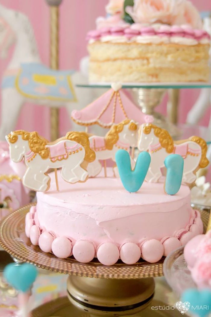 Carousel smash cake from an Enchanted Carousel Birthday Party on Kara's Party Ideas | KarasPartyIdeas.com (24)