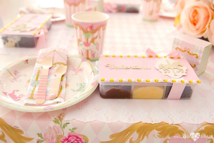 Place setting from an Enchanted Carousel Birthday Party on Kara's Party Ideas | KarasPartyIdeas.com (23)