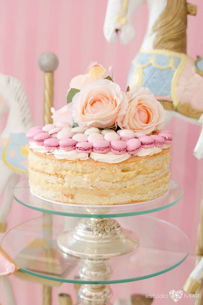 Naked cake topped with mini macarons and roses from an Enchanted Carousel Birthday Party on Kara's Party Ideas | KarasPartyIdeas.com (21)