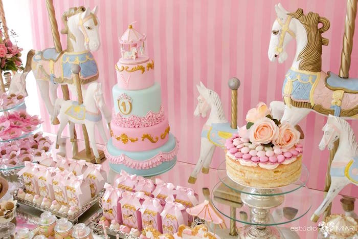 Cakes and carousel ponies from an Enchanted Carousel Birthday Party on Kara's Party Ideas | KarasPartyIdeas.com (13)
