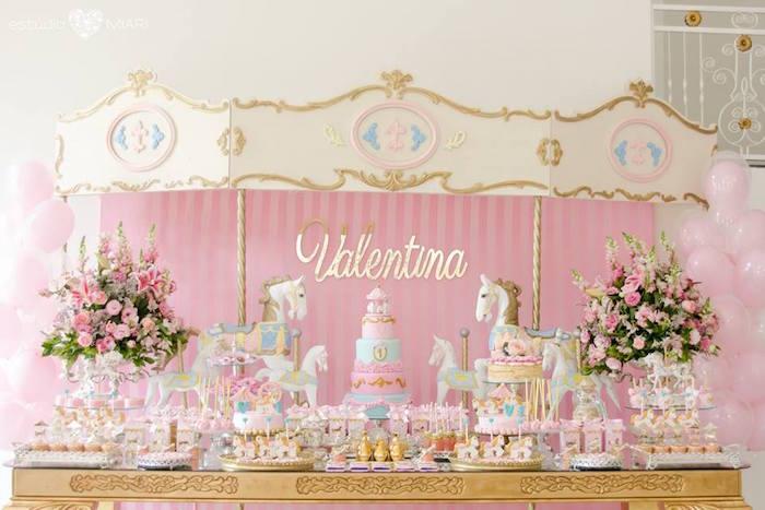 Carousel dessert table from an Enchanted Carousel Birthday Party on Kara's Party Ideas | KarasPartyIdeas.com (12)