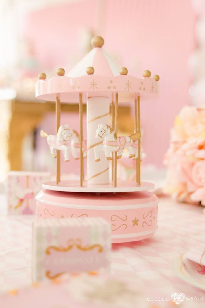 Pink carousel from an Enchanted Carousel Birthday Party on Kara's Party Ideas | KarasPartyIdeas.com (9)
