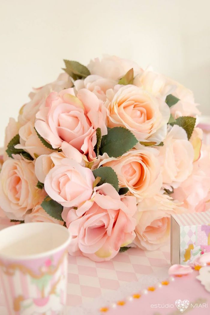 Pink and peach rose table centerpiece from an Enchanted Carousel Birthday Party on Kara's Party Ideas | KarasPartyIdeas.com (4)