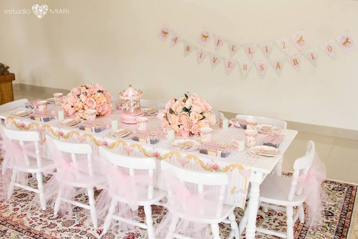 Kid table from an Enchanted Carousel Birthday Party on Kara's Party Ideas | KarasPartyIdeas.com (49)