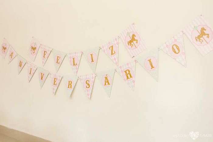 Carousel party banner from an Enchanted Carousel Birthday Party on Kara's Party Ideas | KarasPartyIdeas.com (47)